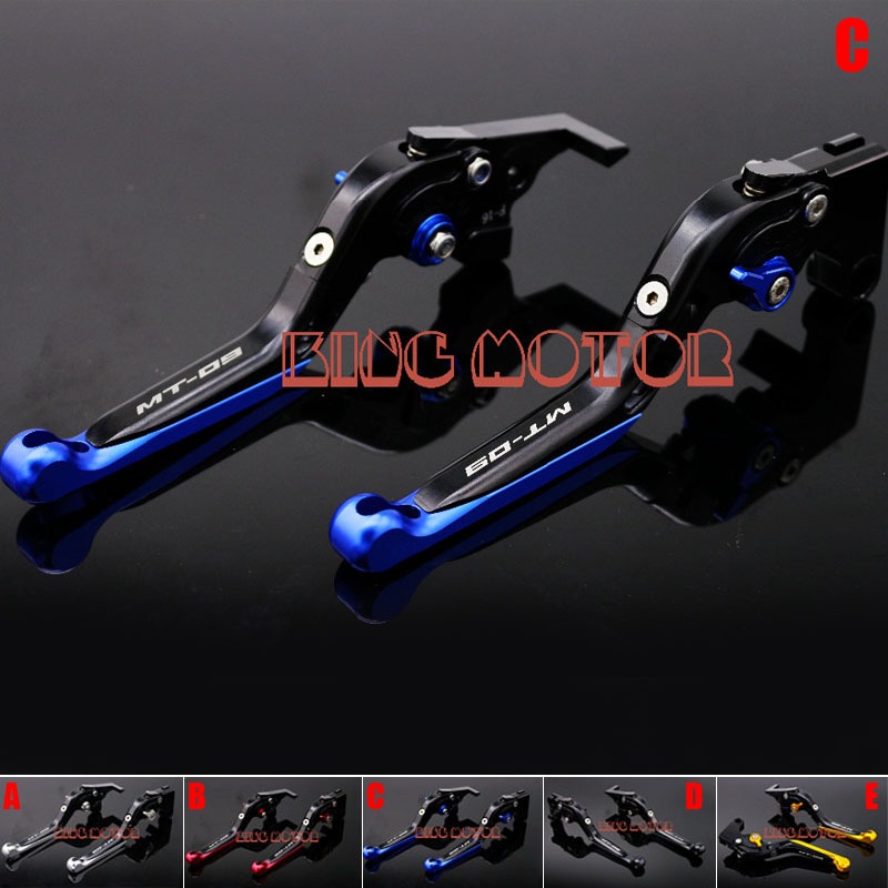 For YAMAHA MT-09 FZ-09 MT-09 Tracer 2014-2017 CNC Adjustable Folding Extendable Brake Clutch Levers LOGO MT-09 Blue<br><br>Aliexpress