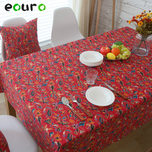 red flowers pattern Linen cotton Table Cloth tablecloths desk cover Oven cover Bedside cabinet cover