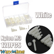 120PCS/Lot M3 White Nylon Fitting Male To Female M-F Hex Spacers Screw Nut Assortment Kit Stand Off Set Hardware Fastener