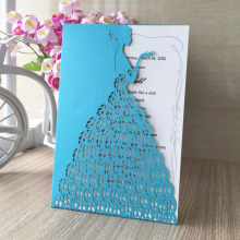 Hot high quality elegant romantic laser cut wedding invitation personalized size beautiful girl dress wedding invition card