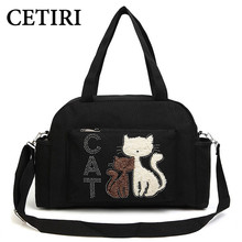 Women Shoulder Bags Handbags Big Canvas Bag Cute Velvet Cat Fabric Travel Bag Large Capacity Women Canvas Shopping Bag ET55