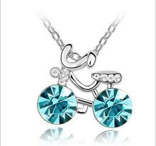blue color crystal bicycle pendant necklace high quality crystal rhinestone cycle necklace for women fashion jewelry accessories(China)