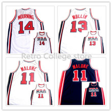 #10 Clyde Drexler #13 Chris Mullin #14 Alonzo Mourning #11 Karl Malone TEAM USA JERSEY Retro Basketball Jerseys custom any sizes