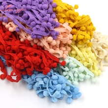 Hot Sale 5Yards/Lot 17 Colors 10MM Pom Pom Trim Ball Fringe Ribbon DIY Sewing Accessory Lace For Home Party Decoration(China)