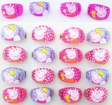 Wholesale Jewellery Lots 20pcs pink Lovely kids Cartoon Pig Pretty Children Ring Party Supplies Birthday anillo Gift Ring