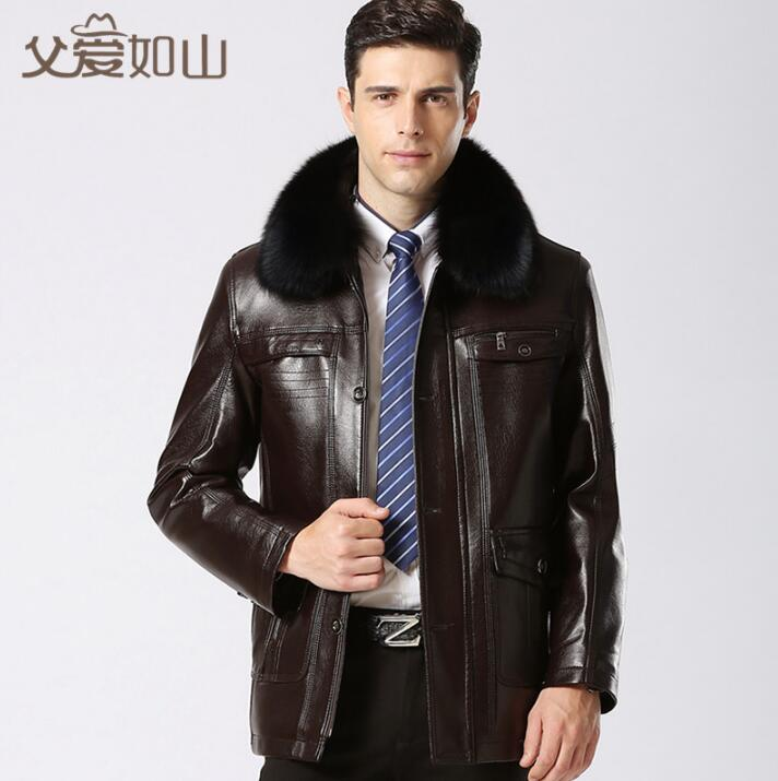 winter motorcycle leather jacket men jaqueta de couro masculino plus velvet thickening large fur collar mens leather clothing
