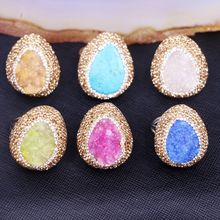 5PCS Zyunz Jewelry Fashion Teardrop Handmade Druzy Ring with CZ pave Women Statement Rings Drusy Natural Quartz Stone Rings