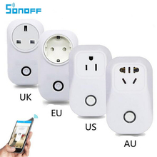 Buy SONOFF S20 10A 2200W WIFI Socket Plug Remote Control Adapter US UK EU AU Wireless Smart Home Power Supply Plug IOS Android for $3.99 in AliExpress store