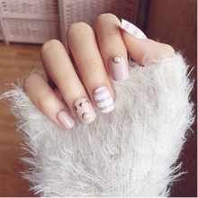 Fashion 24pcs/Set False Nail Tips Pearl Rivet Decal Short Full Cover Fake Nails Sitcker Nail Art With Glue(China)