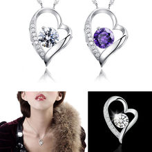 1 pc Hot Fashion Women Silver White Chain Necklace With Heart Pendant Crystal Wedding fine jewelry(China)