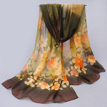 Fashion Women Spring Chiffon Printed women scarf,Autumn Big Flower Print silk scarf Long Shawl Wrap Pashmina echarpes for girls