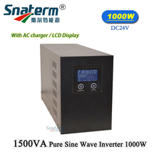 1KW/1000Watts Pure sine Wave Inverter 24VDC to 220/110VAC UPS Solar off grid power Inverter with LCD Display AC Mains Charger
