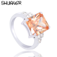 Buy SHUANGR Fashion Square Orange Shiny Crystal Rings Silver-Color Ring Clear Cubic Zirconia Jewelry Wedding Engagement Rings Bijoux for $1.33 in AliExpress store