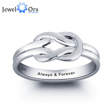 Personalized Love Promise Ring 925 Sterling Silver Simple Knot Ring Valentine's Day Gift (JewelOra RI101792)(China)