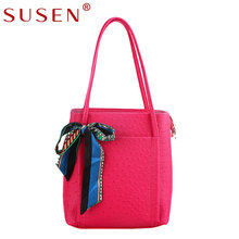 SUSEN Ostrich PU Women Handbags Soft BigTotes Casual Shoulder Bag Scarves Zipper High Quality Brand Candy Color 1013