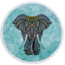 Indian Elephant Summer Large Microfiber Printed Round Beach Towels With Tassel Bohemia Bath Towels Shawl Mat Thick 150x150cm(China)