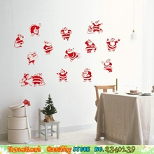 Home Christmas Wall Stickers Decoration Lovely Cute Santa Claus Send Gifts Wall Decals Removable Xmas Wall Peper Craft Stickers
