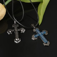 High Quality Zinc Alloy Cross Pendant Double Chain Necklace For Lovers Blue And Black 2Pcs Rope Clavicle Necklace