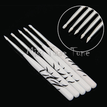 5pcs/Set Small Silicone Heads Carving Nail Brushes Zebra Handle Sculpture Acrylic Nails Shaping Emboss Gel Building Tools(China)