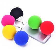 Portable Colorful 3.5mm Wired Mini Speaker Aux Audio Plug Jack Music Sponge Ball Speaker for Mobile Phone Tablet PC