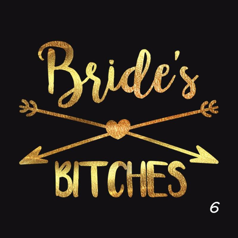 1Pc Bride Temporary Tattoo Bachelorette Party bride Flash Tattoos Creative Gold Bridesmaid bridal shower wedding decoration Z3 13