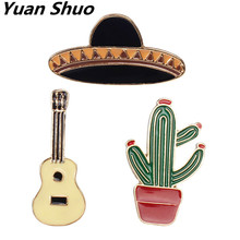 Europe and the United States foreign trade jewelry manufacturer wholesale Potted cactus guitar planet enamel brooch(China)