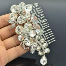 2015 Leaf Flower Hair Comb Pins Tiara Headpieces Vintage Inspiration Drop Glass Rhinestone Crystal Wedding Accessories 4989