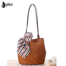 2017 Summer Fresh Style Beach Bags Women Weave Straw Shoulder Bag Famous Brand High Quality Traveling Tote Bags Shopping Bag(China)