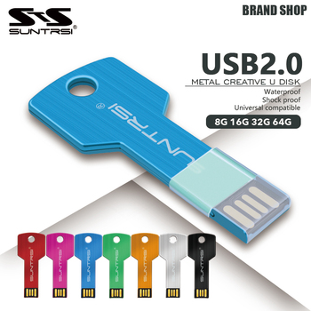Suntrsi chiave usb flash drive impermeabile pen drive 16 gb metallo usb stick capienza reale pendrive 32 gb usb flash logo personalizzato
