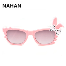 Cute Bow Sunglass for Girls Kids Gradient Sunglasses Children Safety Acrylic SunGlasses UV 400 Protection Fashion Shades Eyewear(China)