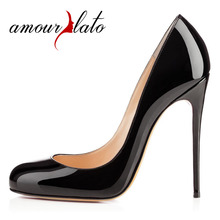 Amourplato Womens Ladies Handmade Fashion 120MM Sky High Heel Pumps Party Round Toe Stiletto Dress Pumps Black Beige Colors(China)