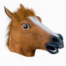 Halloween Suppliers Horse Head Mask Creepy Latex Animal Costume Prop Gangnam Style For Halloween New