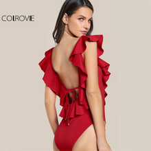 COLROVIE Flounce V Neck Red Bodysuit Tied Low Backless Sexy Sweet Ladies Bodysuits 2017 Women Cute Cap Sleeve Basic Bodysuit(China)