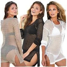 Europe and The United States Women's Clothing Fishing Net Hollow Sexy Beach Loaded Bikini Blouse Jacket GNZ0356