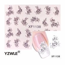 YZWLE Hot Sale  Water Transfer Nail Art Stickers Decal Elegant Light Blue Peony Flowers Design French Manicure Tools
