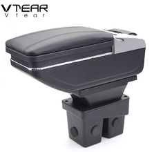 Vtear For Honda City armrest box PU Leather central Store content box cup holder interior car-styling products accessory 06-09