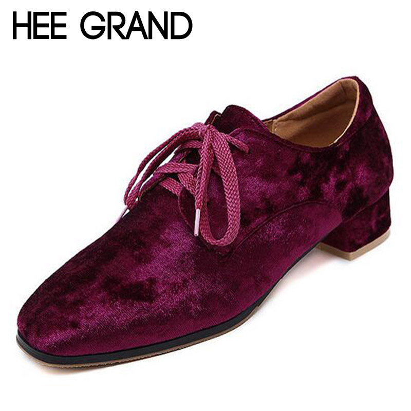 HEE GRAND Platform Velvet Oxfords Lace-Up Casual Shoes Woman Vintage Flats Low Heels Women Brogue Shoes Size 35-40 XWD5187<br><br>Aliexpress