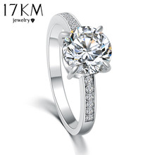17KM 2016 Fashion Design Elegant Luxury Charm Austrian Crystal Zircon Ring Wedding Engagement Bridal Jewelry Rings For Women(China)