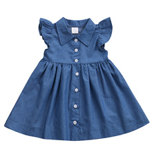 Cute Baby Girls Kid Toddler Denim Dresses Clothes Summer Ruffle Sleeve Outfits Short Mini Dress Girls Clothing(China)