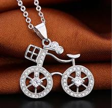 Pure copper new design fashion bicycle pendant necklace for women girl graceful crystal rhinestone bike necklace jewelry