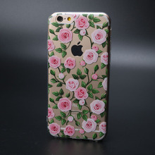For iphone5 5s 6 6s 6plus 7 7plus Silicone Transparent Cute Animal Phone Case Fruit Donuts TPU Rose Flower Cell Phone Case Cover