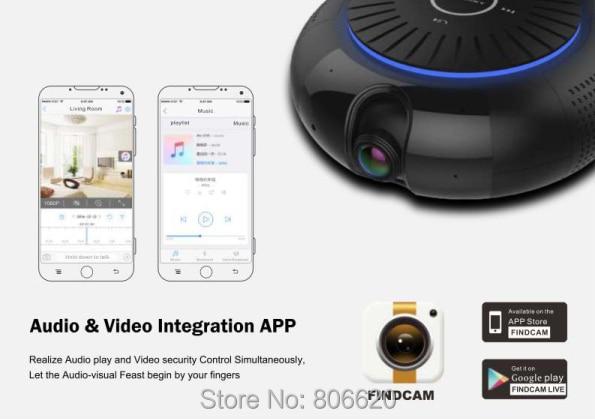 Panoramic 180 Degree 1080P HD Wifi IP Camera Built-in 5W Hifi System Bluetooth Speaker Internet Music byFree App Remote Control_F4