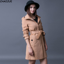 CHAOJUE Brand New cashmere coat female 2016 fall/winter slim fit warm camel trench coat womens high quality woolen blends sales