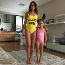 Mom Baby Swimwear Set Baby One Piece Swimsuit ISLAND VIBES Letter Printing Monokini Bodysuit Kids Beach Wear Child Bathing Suit