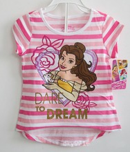 Retail Belle Princess Beauty and the Beast girls short sleeve summer t shirt top girl t-shirt tee tees kids childrens Tops
