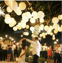 "48pcs/lot 12"" White Paper Lanterns With Led Light Chinese Paper Lanterns For Wedding Party Decoration Holiday Supplies"