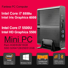 Fanless mini computer core i7 5550u 5500u intel HD 6000 Micro PC 4K HTPC Linux Kodi 8GB RAM 512GB SSD Windows 10 Linux Mini PC(China)