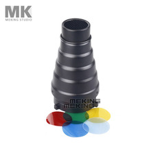 Photography Studio Flash MK(S) Conical Snoot Light Control for Bowens Strobe with Gel Filter Color Red Yellow Green Blue(China)