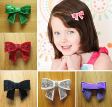 "60pcs 2"" sequin hair bows clips embroidered Applique with covered fully lined alligator clip hair Accessories Headwear HD3228"