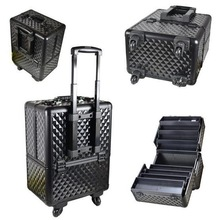 Aluminum Trolley Cosmetic Box cosmetic case with tray big space to hold cosmetics